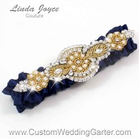 "Navy Blue and Gold Pearl Beaded Wedding Garter ""Charlotte 01"" Gold"