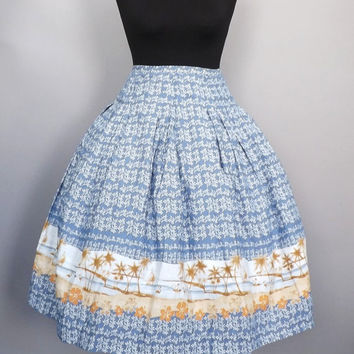 Vintage 90's does 1950's 60s Novelty Print Cotton Circle Skirt Picnic Skirt High Waist Casual Summer Turnabout up A line Hawaiian Tiki Skirt