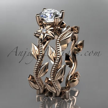 "Unique 14k rose gold diamond floral wedding ring, engagement set with a ""Forever One"" Moissanite center stone ADLR238S"