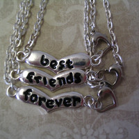 3 Best Friends Forever Heart Necklaces with by AccentTreasures