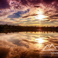 sunset on lake nature photography instant download lapponia finland lapland commercial use gift idea scandinavia