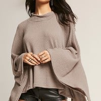 Poncho-Inspired Sweater-Knit Top