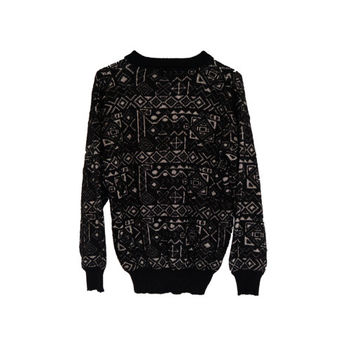 Black and White Aztec Sweater Tribal Design Vintage Geometric Hip Hop Diamond Pullover Silver Winter Cozy Outerwear Womens
