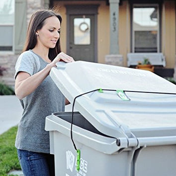 Trash Buddy - Dog Proof Trash Can Lid - The Easy-Install Solution for Securing Your Outdoor Garbage Can Lid - Still Empties at Pickup Time