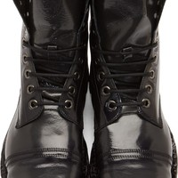 Black Aged Leather Hardkor Boots