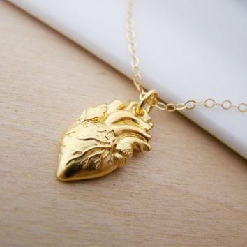 Dainty Gold Filled Anatomical Heart Charm Pendant 14k Gold Filled Necklace / Gift for Her / Simple Jewelry