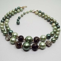 Vintage Multi Strand Green Faux Pearl Necklace, Japan Signed, Mid Century 1960s 60s, Two Strand, Adjustable Length