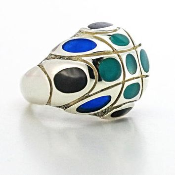 John Hardy Blue and Black Enamel Dome Ring in Sterling Silver Vintage Rare