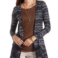 Navy Combo Paisley Cardigan with Lace Hem by Charlotte Russe