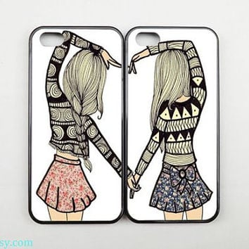 Couples Case,Best Friends Phone case, Two Girls iPhone 5 case,iPhone 5C case,iPhone 5S case,iPhone 4 case,Samsung galaxy S3 S4 S5 case