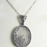 Art Deco Sterling Silver Filigree Camphor Glass Diamond Necklace