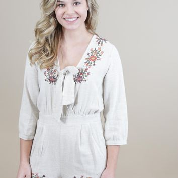 New Eyes Embroidered Romper, Natural
