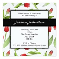 Red Tulip Floral Patten Birthday Party Invitations