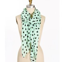 Mint Heart Scarf