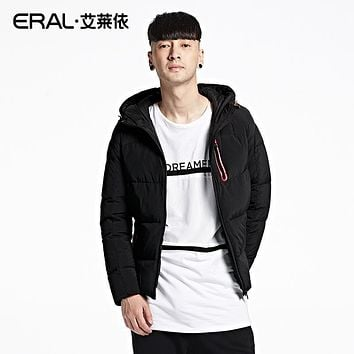 ERAL Men's Winter White Duck Down With a Hood Down Coat Casual Solid Slim Thermal Short Down Jacket ERAL19003-EDAA