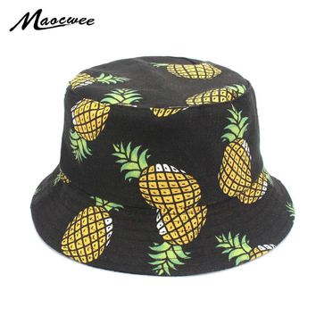 9a5341a8ea6 Embroidered Fisherman Cap Funny Fresh Fruit Pineapple Hat Men Wo. Item  Type  Bucket Hats ...