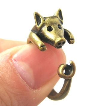 Pig Piglet Animal Wrap Around Ring in Brass - Sizes 4 to 8.5 Available