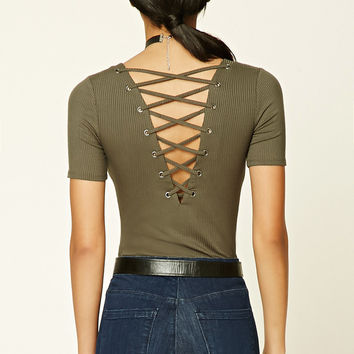 Lace-Up Back Cutout Bodysuit