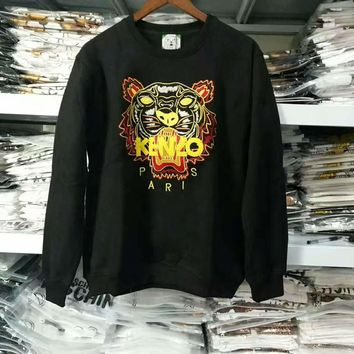 One-nice™ kenzo print long sleeve black sweater top H-spring-CLFSGCJDZ