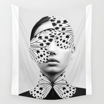 Woman Butterfly Wall Tapestry by Dada22