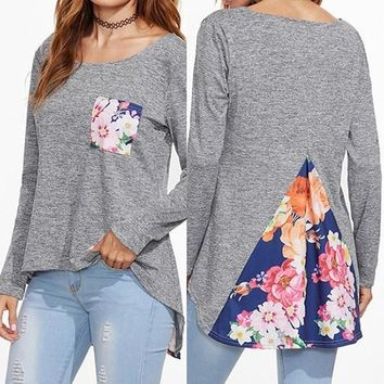 Grey Floral Pockets Round Neck Long Sleeve T-Shirt