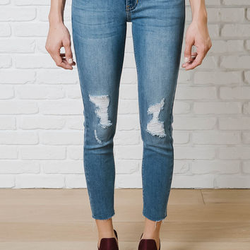 Distressed Cutoff Skinny Jeans By Just Black-FINAL SALE