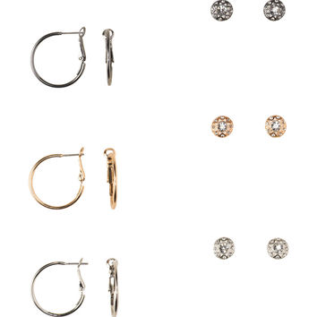 Medallion Stud & Hoop Earring 6-Pack
