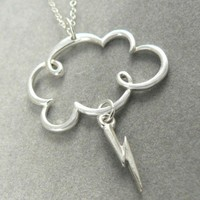 Lightning Storm Cloud Sterling Silver Charm Clouds Rain Necklace | asilomarworks - Jewelry on ArtFire