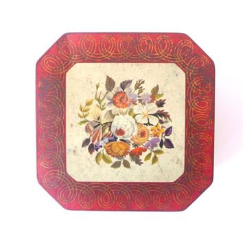 Vintage Flower Tin Can, Metal Cookies Box, Dark Red, Flowers