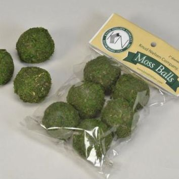 "Bag of 6 Green Moss Balls - 2"" Wide"