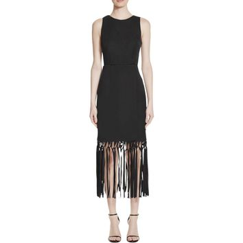 Keepsake Womens Across The Water Faux Wrap Fringe Cocktail Dress