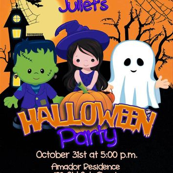 Trio Kids Halloween Party Invitations