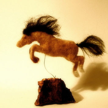 Needle felting pony felted horse needle felted funny horse pony jumping horse happy pony tiny horse figurine cork OOAK
