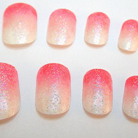Glue On Nails Ombre Pink Gradient Glitter