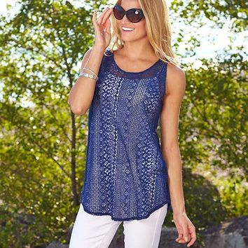 Women's Lace Tunic Tank Top Sheer Layering Sleeveless Blue White Cotton Cover Up