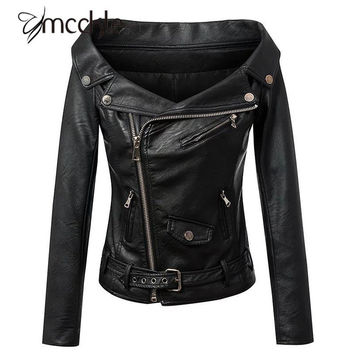 Women's Black Motorcycle Punk Rock PU Leather Jackets 2016 Autumn Fashion Slash Neck Slim Outwear Jacket With Belt Coat Women