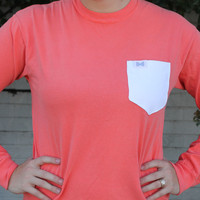 Unisex Long Sleeve Logo Tee Shirt in Salmon Orange with White Oxford Pocket by the Frat Collection