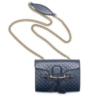 Gucci Micro Guccissima Margaux Navy Blue Leather Shoulder Handbag Bag New Small