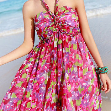 Pinkish Red Acetate Floral Print Halter Maxi Dress