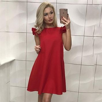 New Arrival 2017 Summer Women Sexy Cute Mini Party Dress White Red Black Butterfly Sleeve Casual Beach Dresses