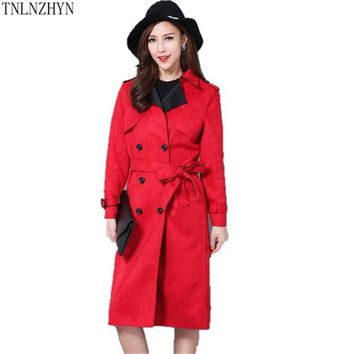 TNLNZHYN2017 Spring Women Suede Trench Coat Long Loose double-breasted Coat Casual Loose Big Yards Windbreaker Outwear 5XL SK376