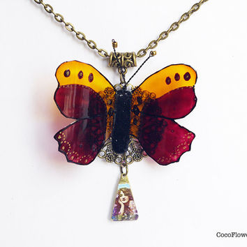 Butterfly necklace , brown yellow medium size necklace , butterfly charm necklace , insect jewelry , spring animal pendant necklace