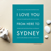 I Love You From Here To SYDNEY art print