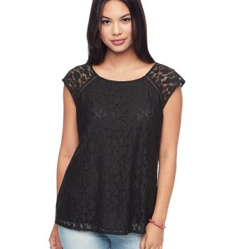 Pitch Black Leopard Lace Bi Colored Leopard Tee by Juicy Couture,
