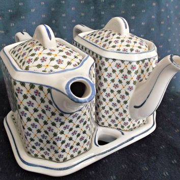 Vintage Hall China Twin Teapots with Tray Blue Floral Green Leaves