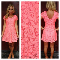 Neon Coral Babydoll Lace Dress