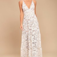 Dress the Population Melina White Lace Maxi Dress