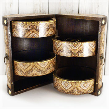 Damask  Wooden Mini chest drawers/ cylindrical shape/ Vintage look decoupage