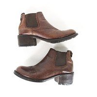 Vintage Chelsea Boots -- Leather Ankle Boots -- Chunky Heel -- Chestnut Brown -- 90s Cole Haan -- Womens Size 8.5 / 9