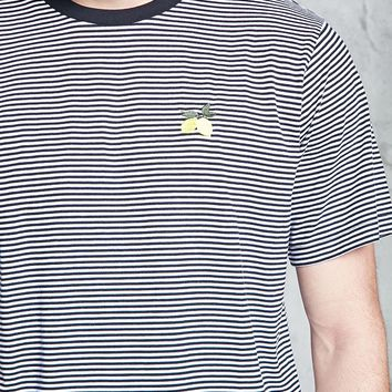 Striped Embroidered Lemon Tee